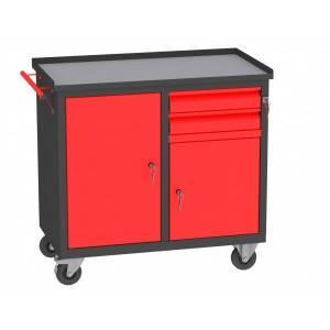 Wózek Warsztatowy WW.AC dwie szuflady, dwoje drzwi i przegroda